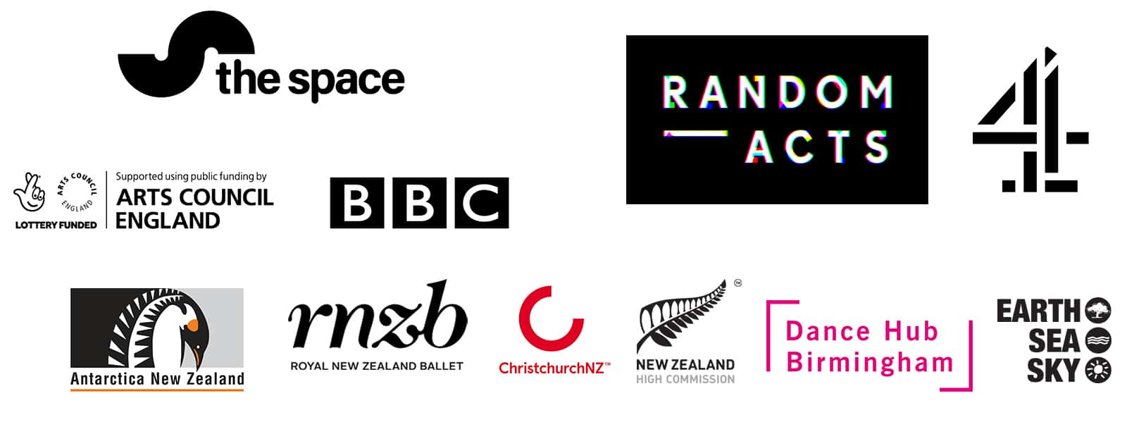 Sponsor logos; The Space, BBC, Arts Council England, Randon Acts, Channel 4, Royal New Zealand Ballet, New Zealand Hight Commission, DanceXchange, ChristchurchNZ, Earth Sea Sky & Antarctica New Zealand